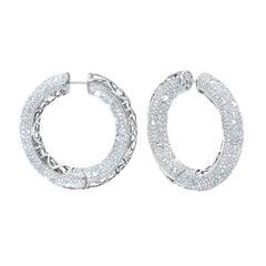 14.50 Carat Diamond Bangle Hoop Earrings