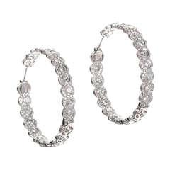 Rose Cut Diamond Hoop Earrings