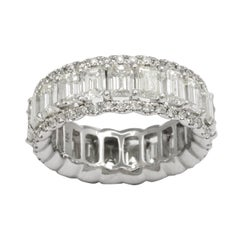 Stunning Emerald Cut Diamond Gold Eternity Band