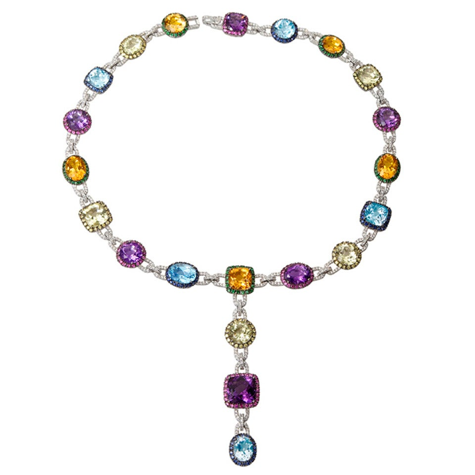 Multicolor Gems  Diamond Necklace 1