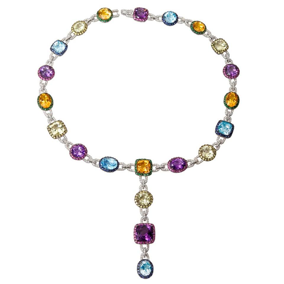 Multicolor Gems  Diamond Necklace