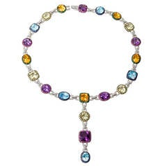 Multicolor Gems  Diamond Necklace