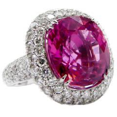 Spectacular 14.87 Carat Tourmaline Diamond Ring