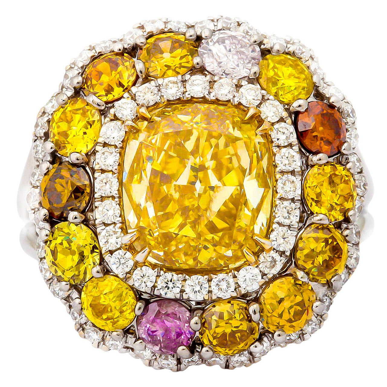 Stunning 3.02 Carat GIA Cert Cushion Cut Diamond Gold Platinum Ring
