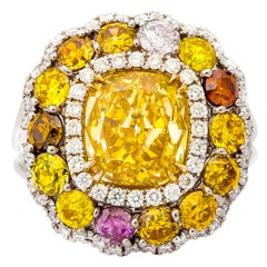 Stunning 3.02 Carat GIA Certified Cushion Cut Diamond Gold Platinum Ring