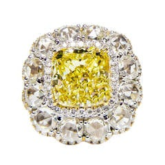 6.16 Carat Cushion Cut Canary Diamond Ring