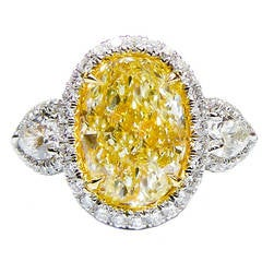 6 Carat Canary Yellow Diamond Ring