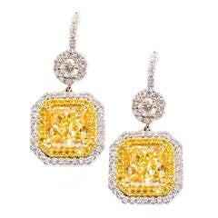 Elegant and Classic Fancy Yellow Diamond Earrings