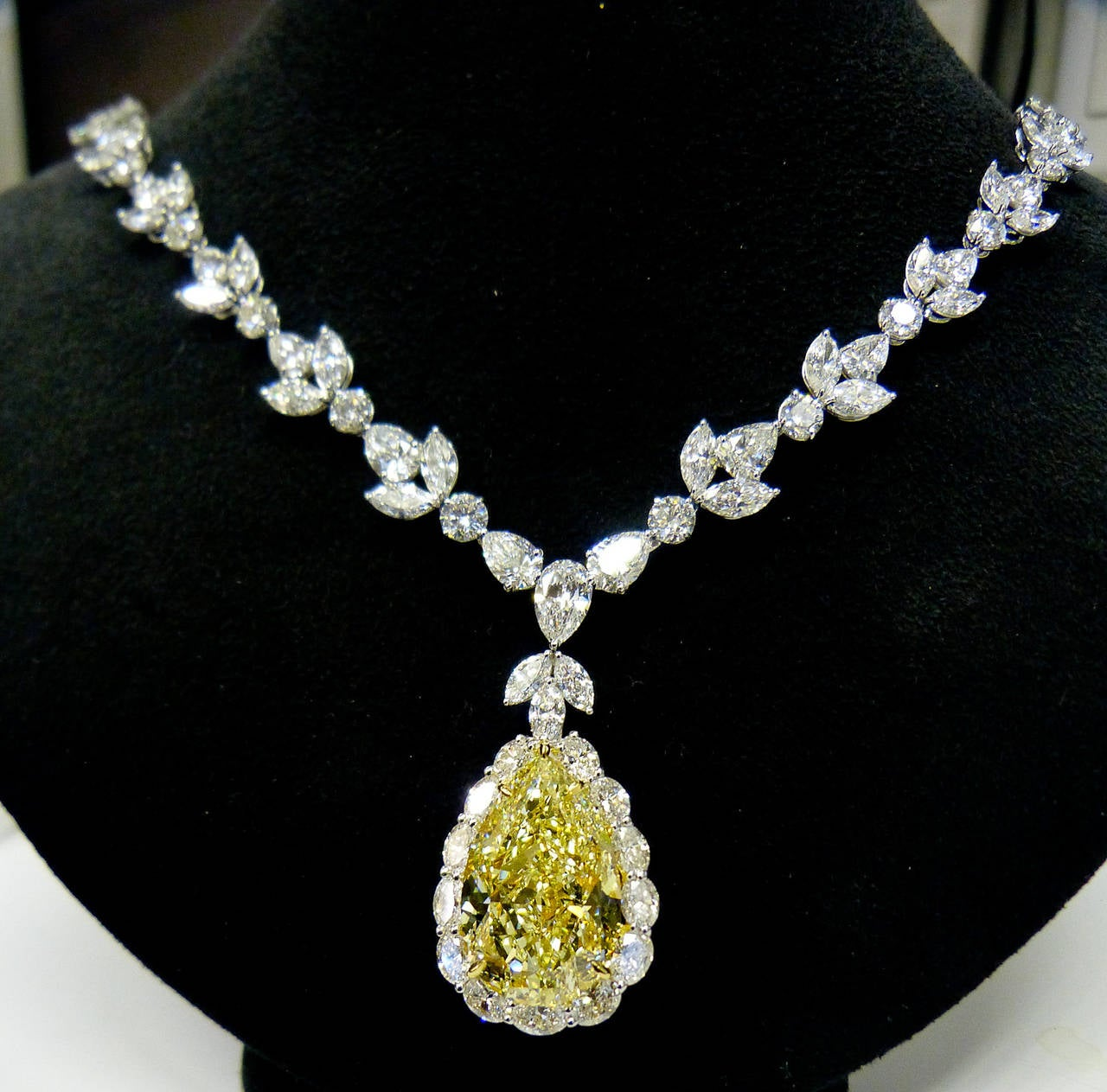 Magnificent 35.31 Carat Fancy Intense Yellow Pear Diamond Necklace 2