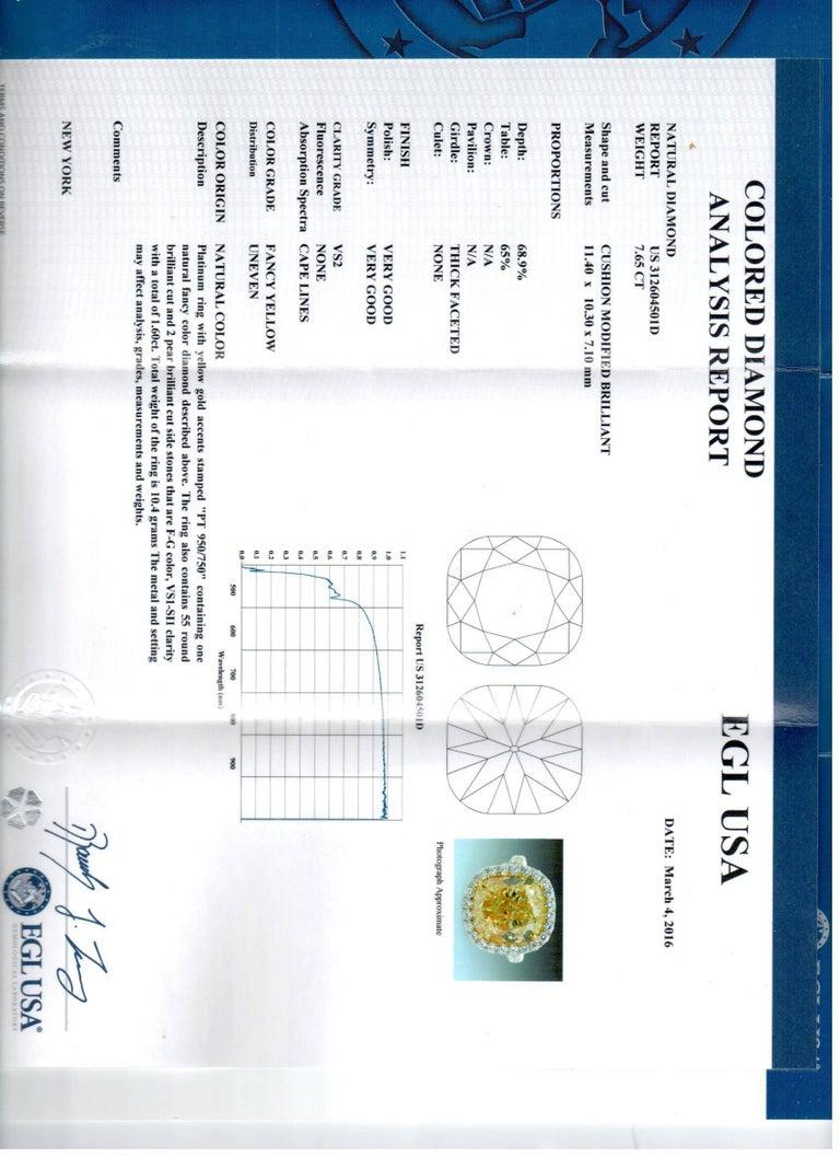 Cushion Cut Canary 7.65 Carat Fancy Yellow VS2 Diamond Ring For Sale
