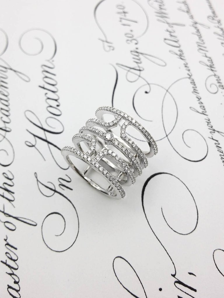 Women's 18 Karat White Gold Multi Row Diamond Ring For Sale