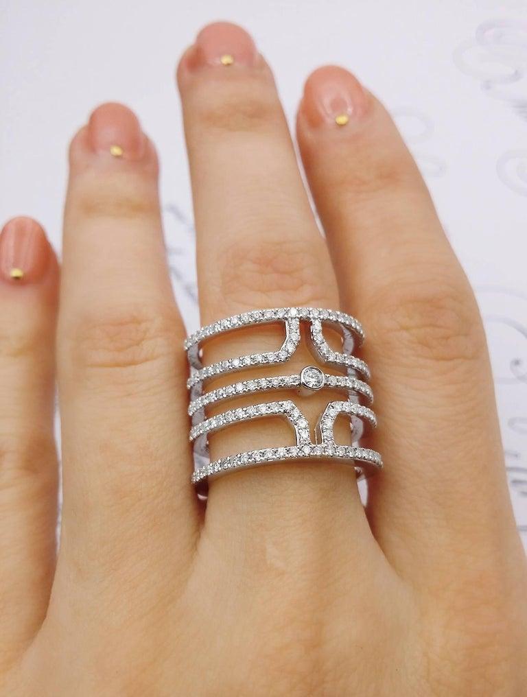 Round Cut 18 Karat White Gold Multi Row Diamond Ring For Sale