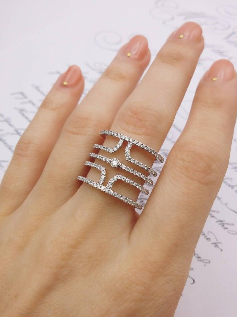 18 Karat White Gold Multi Row Diamond Ring For Sale 4