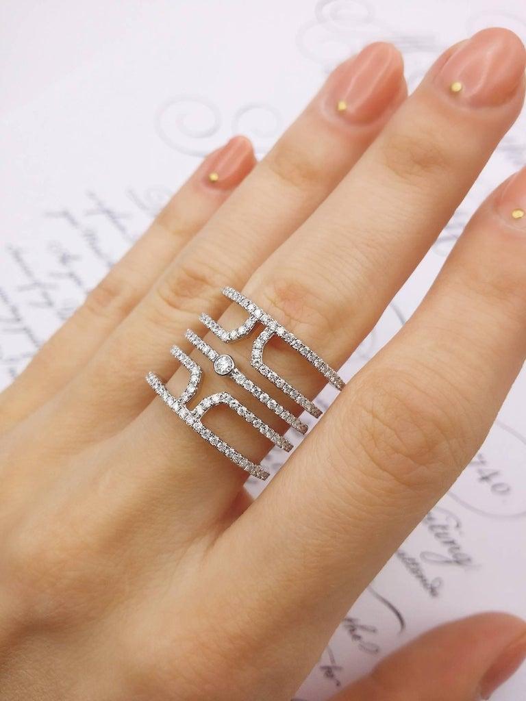 18 Karat White Gold Multi Row Diamond Ring For Sale 3