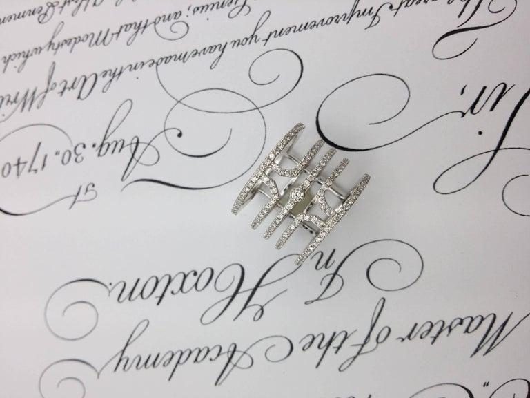 18 Karat White Gold Multi Row Diamond Ring For Sale 1