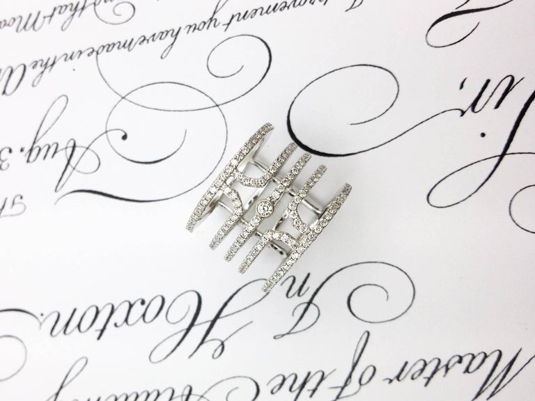 18 Karat White Gold Multi Row Diamond Ring For Sale 2