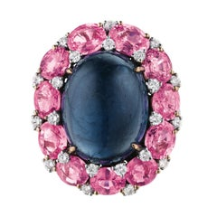 Tourmaline, Pink Sapphire and Diamond Ring