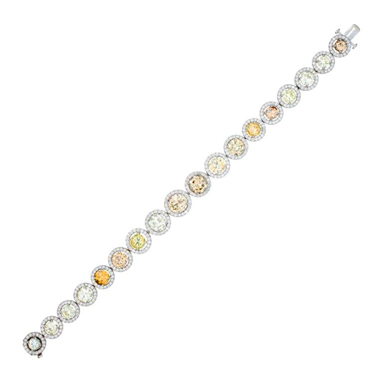 Champagne, Yellow and Green Diamond Bracelet in Platinum For Sale