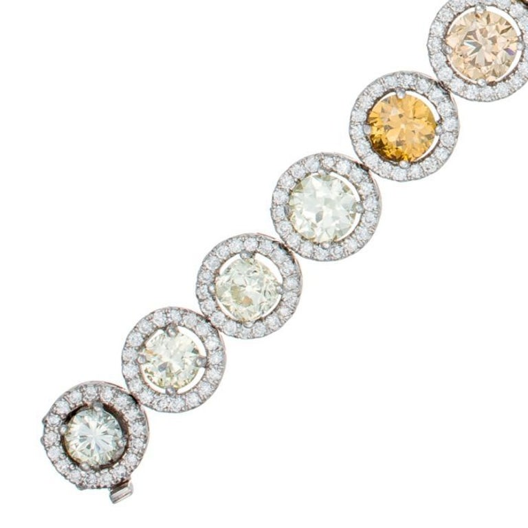 Champagne, Yellow and Green Diamond Bracelet in Platinum In New Condition For Sale In New York, NY