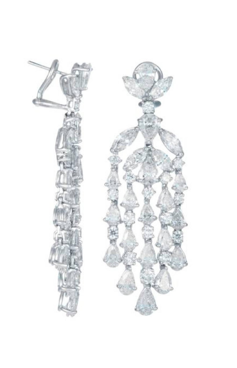 Diamond Chandelier Earrings in Platinum  Platinum earrings with 18.05 carats of fancy cut diamonds  Diamond specifications:  Nearly colorless, VS/SI clarity   This product comes with a certificate of appraisal This product will be packaged in a