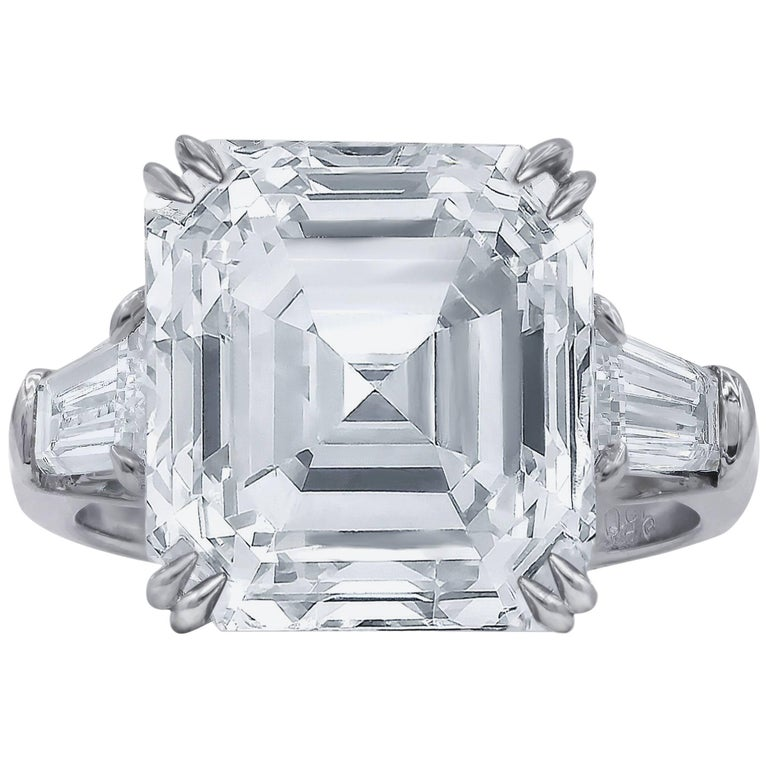 Certified Diamond 9.20 Carat Asscher Cut Engagement Ring