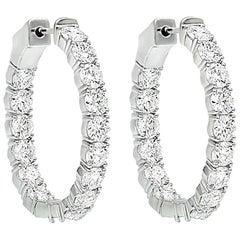 Rare 10.00 Carat Diamond Hoop Earrings, Each Diamond 0.31 Carat