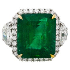 14.13 Carat GIA Certified Green Emerald Diamond Platinum Ring