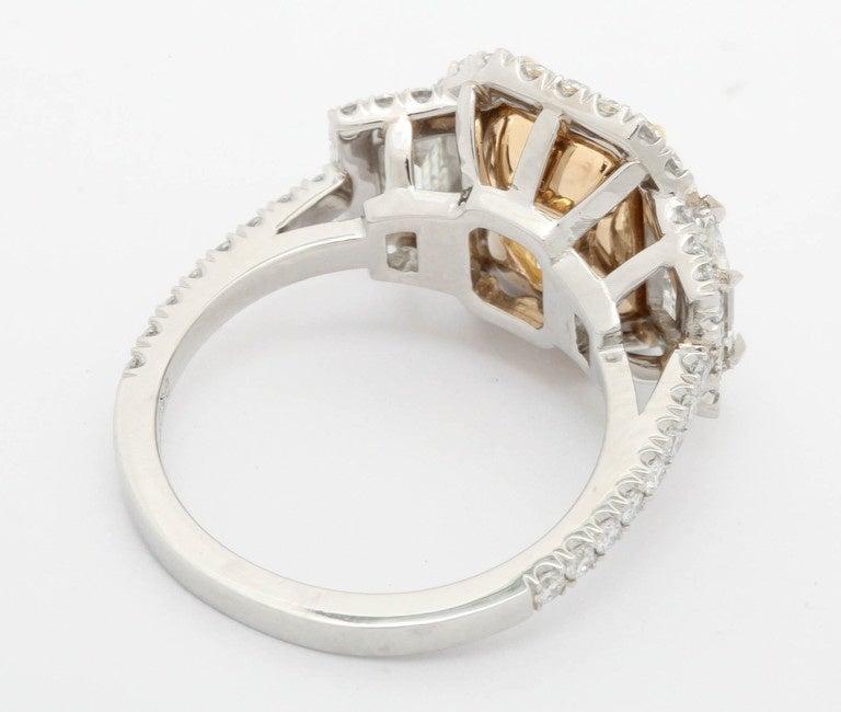 Women's or Men's 3.36 Carat Fancy Yellow Diamond Platinum Ring For Sale