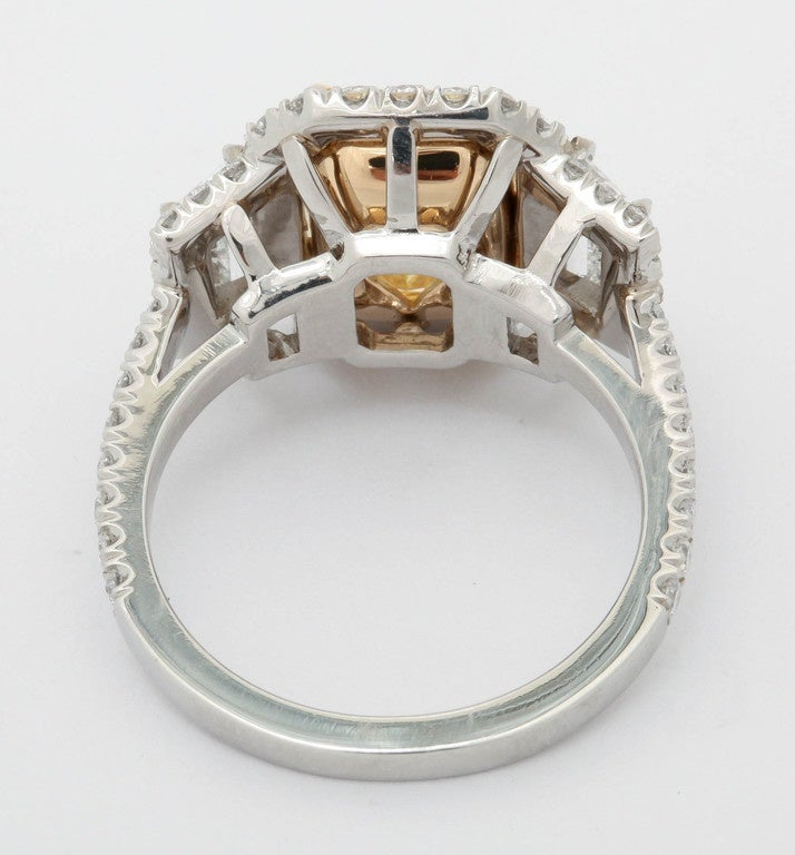 3.36 Carat Fancy Yellow Diamond Platinum Ring For Sale 1