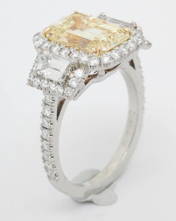 3.36 Carat Fancy Yellow Diamond Platinum Ring For Sale 2
