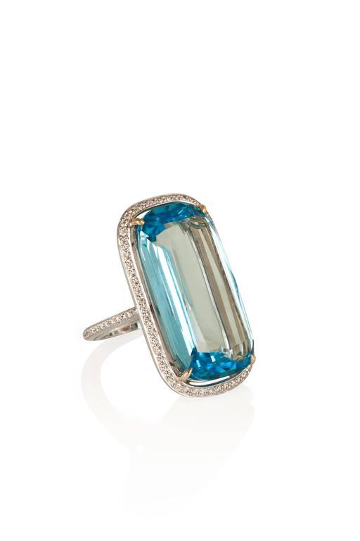 Paolo Costagli Blue Topaz Diamond Gold Ring 2