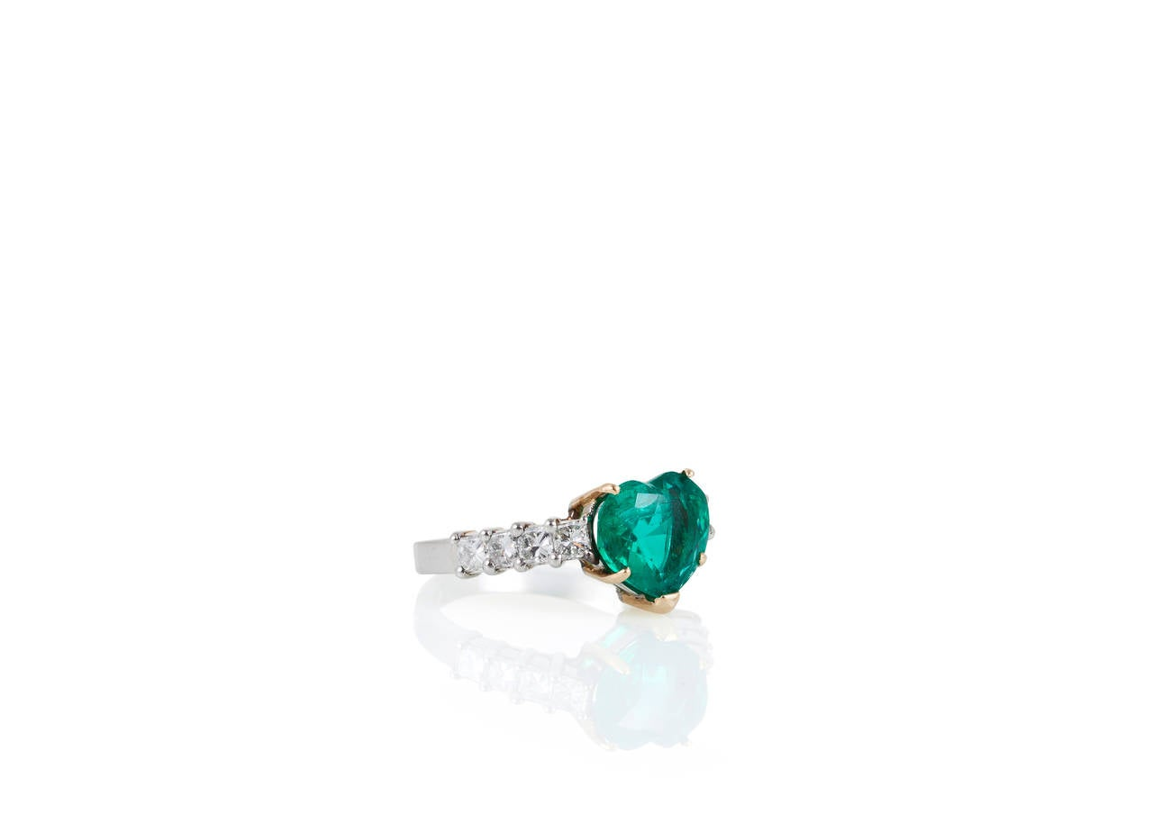 2.60 Carat Heart Shaped Emerald Diamond Gold Platinum Engagement Ring 2