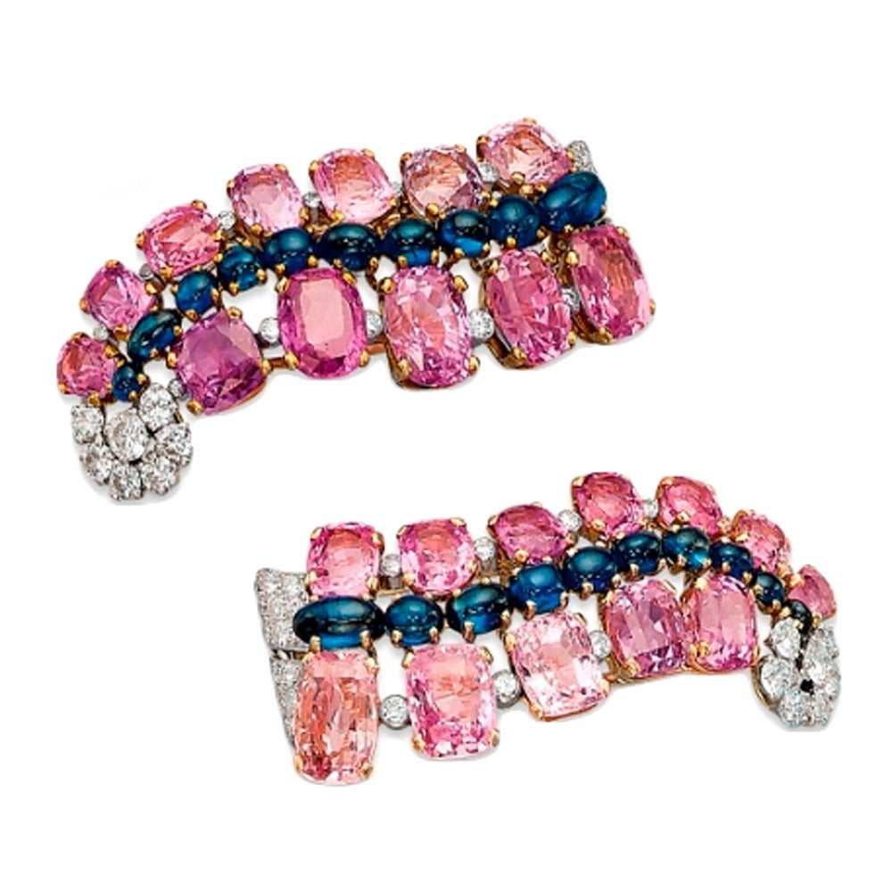 Pink and Blue Sapphire Diamond Gold Platinum Earclips