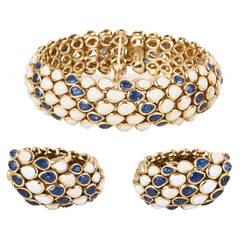 Faraone Enamel Sapphire Gold Bracelet and Earrings