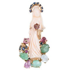 Carved Coral Multicolor Gem Gold Quan yin Brooch