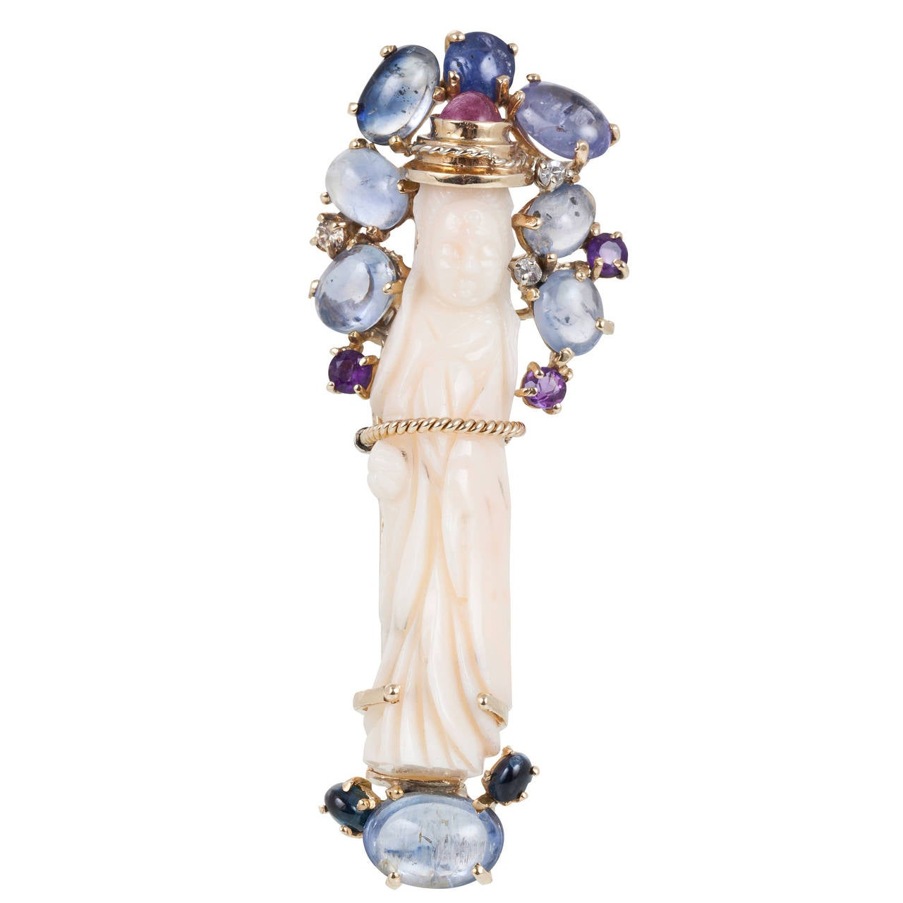 Coral Sapphire Amethyst Gold Quan Yin  Brooch