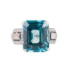 Art Deco Blue Zircon Diamond gold Cocktail Ring