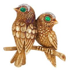 Cartier Emerald Gold Birds Brooch