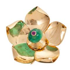 Cartier Retro Gem Set Gold Flower Brooch