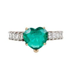 2.60 Carat Heart Shaped Emerald Diamond Gold Platinum Engagement Ring
