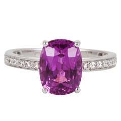 Pink Sapphire Diamond Platinum Solitaire Ring