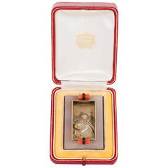 Cartier Art Deco Agate Coral Onyx Silver Gilt St. Christopher Plaque