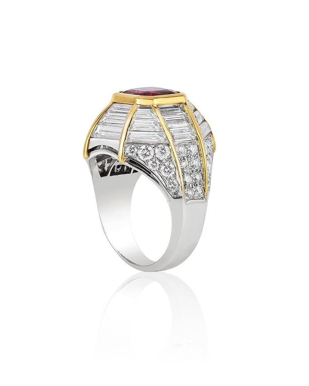 Retro Ruby Diamond Gold Cocktail Ring 2