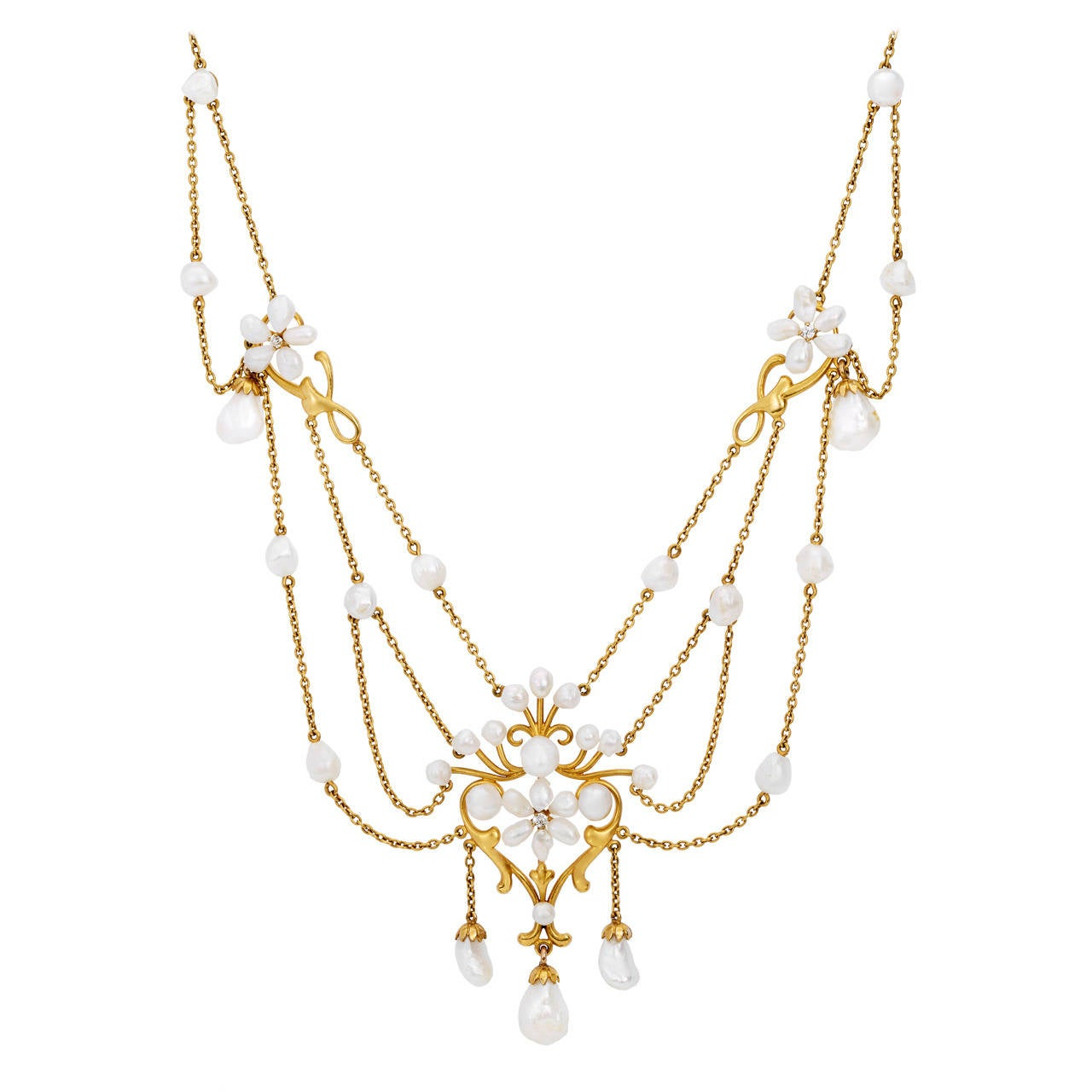 Past Era Art Nouveau Freshwater Pearl Diamond Gold Swag Necklace 1