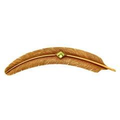 Edwardian Peridot Gold Feather Barrette