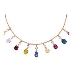 Past Era Late Victorian Gemset Diamond Gold Drop Fringe Necklace