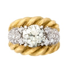 Vintage 1970s David Webb 18K Yellow Gold Diamond Ring