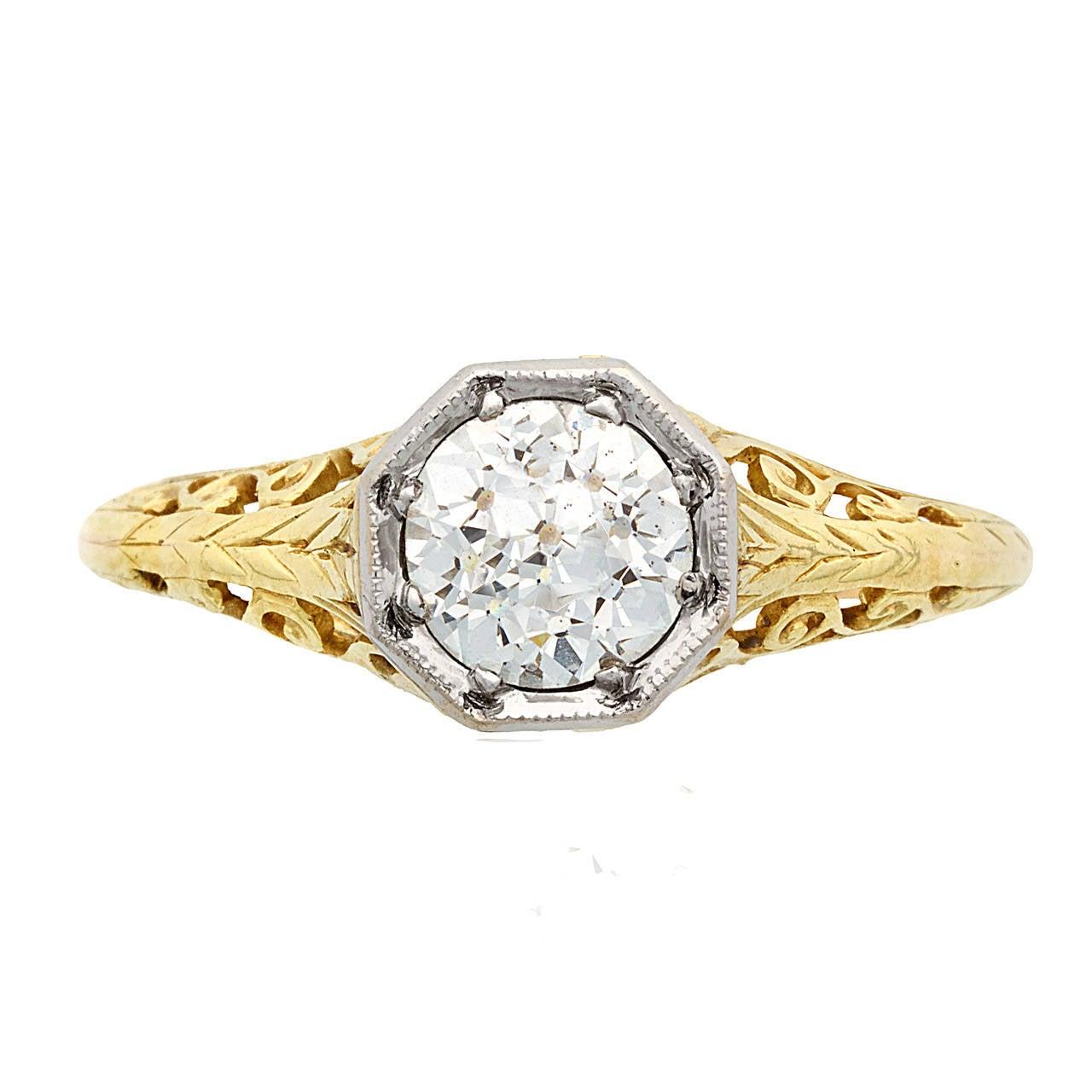 edwardian gold platinum solitaire filigree ring at