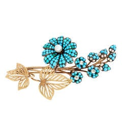 Georgian Turquoise Pearl Gold En Tremblant Flower Pin