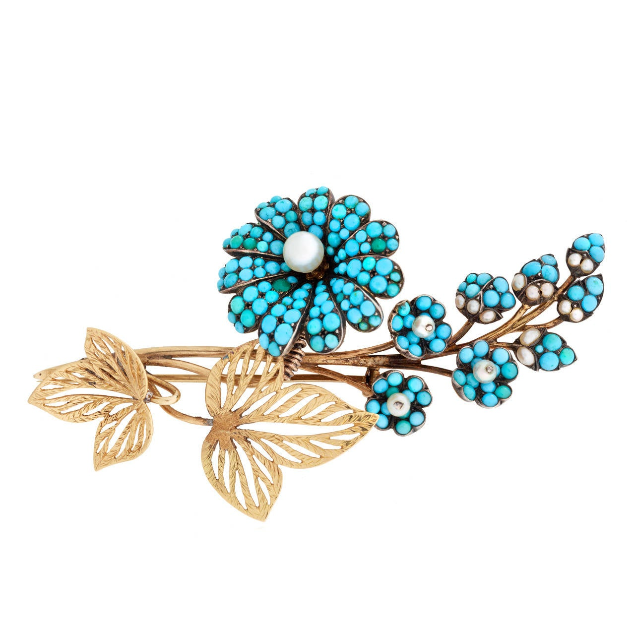 Georgian Turquoise Pearl Gold En Tremblant Flower Pin For Sale